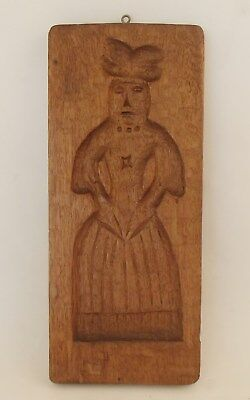 Early 19th Century Carved Oak Cookie Board, Woman with Pleated Skirt