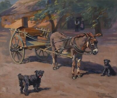 István BENYOVSZKY 1898-1969 Oil Painting Donkey Cart Dogs Hungarian Listed