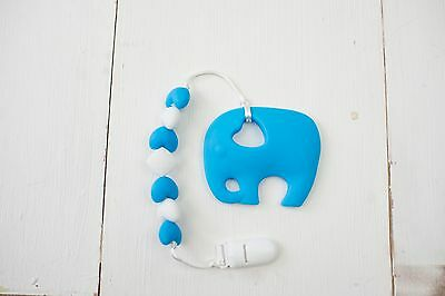 Blue Eddie Elephant Silicone Teether On Beaded Clip Sophie Giraffe Free Delivery