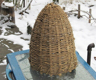 Antique Primitive Hand Made Basket Skep For Bee Swarm Beehive Beeskep