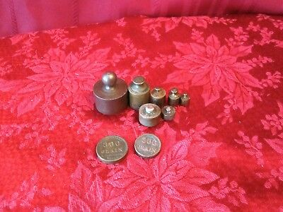 Antique Vintage Set of 9 Brass Steel Balance Scale Counter Weights Nice Patina