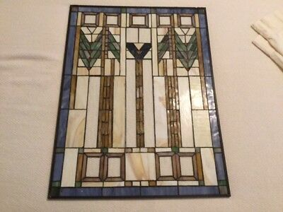 Art Nouveau/Deco crossover chevron design stained glass panel