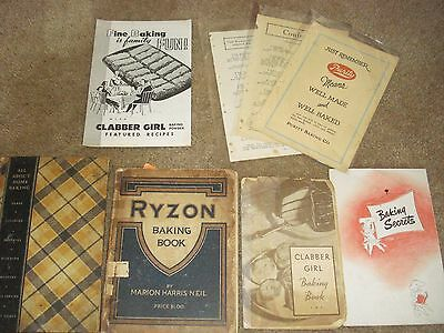 "5 Vintage Cookbooks ""All About Home Baking"" General Foods, Ryzon, Clabber Girl"