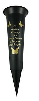 In Loving Memory Special Uncle Butterfly Memorial Spiked Grave Flower Vase Black
