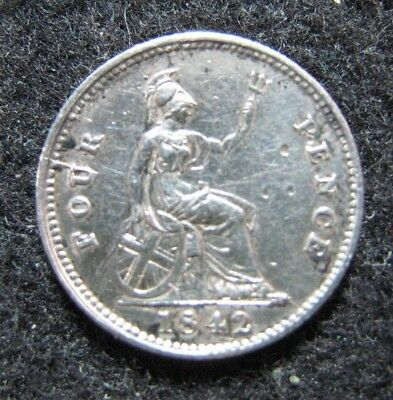 1842 Great Britain 4 Pence Groat Silver Polished Circulated  KM 731.1