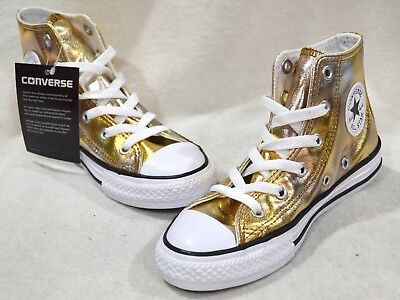 831af8e5863 CONVERSE GIRL S CT All Star High Top Metallic Gunmetal Sneakers-Size ...