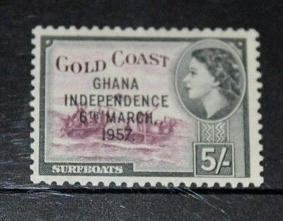 Ghana 1957 5/- Queen Elizabeth Issue Opted Independence Fine Mint Vl/h