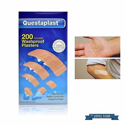 NEW Questaplast 200Pack Washproof Water resistant First Aid Plasters Wounds Cut