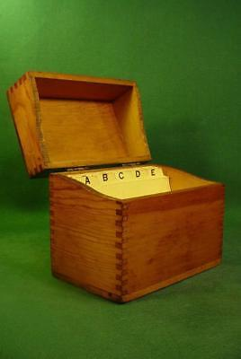 Vintage Wood Dovetail Corners 3X5 Recipe File Box With Dividers