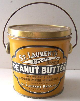 Vintage 2 Lbs St. Laurent's Cream Peanut Butter Tin Pail w/Handle Bay City, Mich