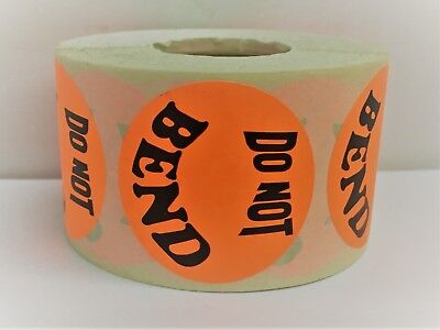 "Br/Red 1-1/2"" Round DO NOT BEND Retail Mailing Shipping Stickers / 300 Labels"
