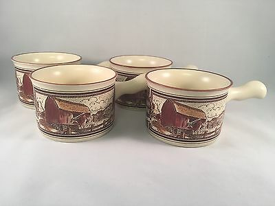 Watkins Almanac Set of 4 Soup Chili Mug Bowl Red Barn May 1906 Repro in 1986 New