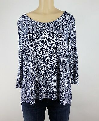 Rose Olive Blouse Womens Size Xl Blue White Geo Cut Out Short