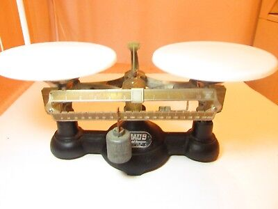 Vtg Cast Iron Ohaus 200 Gr.scale With Porcelain Plates/ Display Case Optional