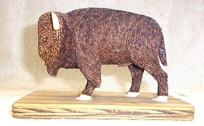 Hand Carved Wooden Buffalo on Base Marked W.W.S. 4""