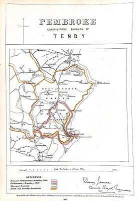 Pembroke.Tenby.Wales.1868.Boundary Commissioners report.Map.Antique.Genuine