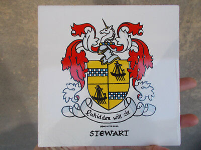 """STEWART"" FAMILY COAT of ARMS CREST 6""x6"" CERAMIC TILE Wall Plaque Trivet"