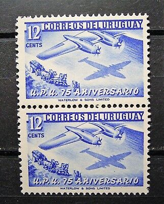Uruguay - UPU 75th Aniversary, Joined pair of 12c Air Mail Stamps,- VG Stamps