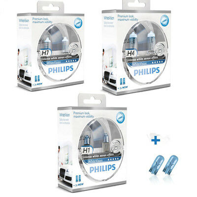Philips White Vision More Light Car Headlight Bulbs H1 H4 H7 Single or Pair +W5W