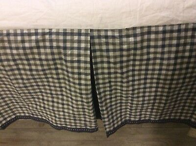 "Pottery Barn Kids, Crib Skirt, Boys, Navy Multi, Plaid, ""Gavin"" NWOTs"