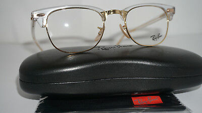 99aea50f276 RAY BAN Frame RX Eyeglasses New CLUBMASTER Transparent Gold RX5154 5762 49  140