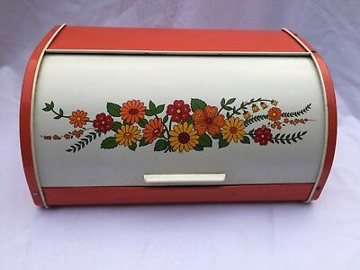 Vintage Metal Orange Bread Bin Old Box Flowers Retro Australia Kitchenalia Tin
