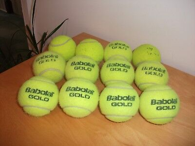 12 Used Tennis Balls Babalot Gold Practice Children Dog Play Toys