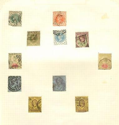 1880-1900 Old stamps from the United Kingdom on three album pages