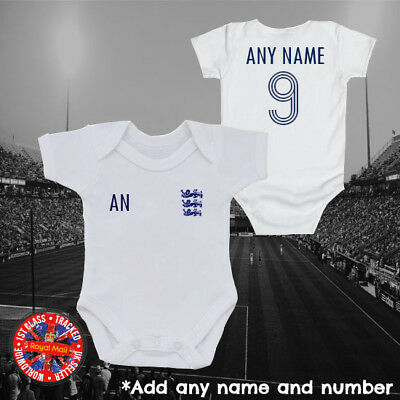 Personalised England Inspired Football baby grow, kids t-shirt, World Cup, Gifts