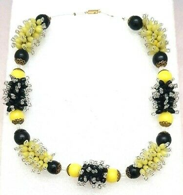 murano italy hand made glass Necklece yellow and black vintage and unique 1950's