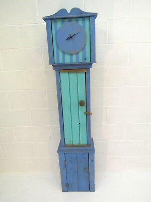 Bespoke vintage driftwood longcase clock with shelving in case & working clock