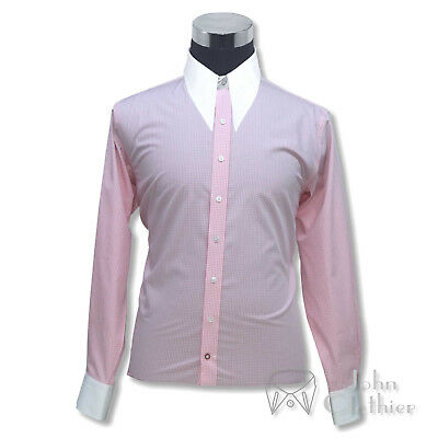 Mens Spearpoint collar 1930 WWII Vintage Dagger shirt Pink Gingham check Cotton