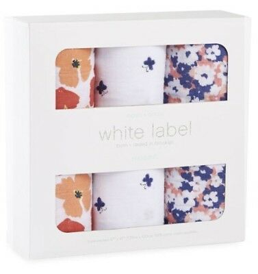 Aden + Anais White Label Swaddles, 3 Pack, Flora Design