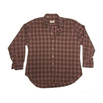 BRIONI XL Tailored in Italy Plaid Purple Red Green Long Sleeve Men's Dress Shirt