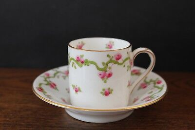 Crown Staffordshire Coffee Can Cup & Saucer - Rose Bud Swags - Antique 1900s