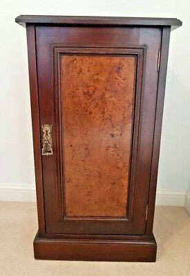 Solid Mahogany inlaid with Burr Walnut Victorian Pot Bedside Cupboard Nightstand