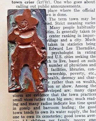 Antique Copper Letterpress Printers Block Stamp of Ye Old Town Crier