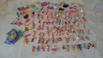 Vintage Polly Pocket Mixed Bundle Figures / dolls over 120 pieces very good cond