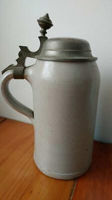 Antique Stoneware Tankard Pewter Lid Early Primitive