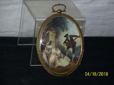 Antique c18th/19th Century Miniature Original Genre Art Painting Brass Frame