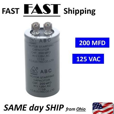 NEW - - AC 125v 200uf 200mfd Motor Start Run Capacitor - 125vAC Max. 120v 115v