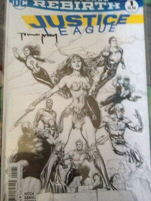 Justice League #1 DC Rebirth Black & White Fried Pie Variant Signed Tomeu Morey