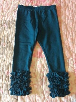 Twincessities 2T Teal Blue Ruffle Leggings Icing Pants Fall Matches Persnickety