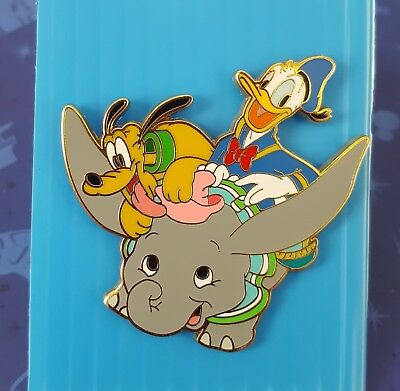 DLR Disney Dumbo Flying Elephants Ride Attraction with Donald Duck and Pluto Pin