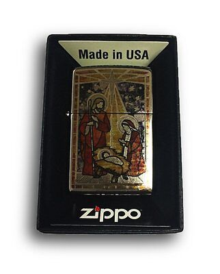 Zippo Custom Lighter Holy Family in Fuzion High Polish Chrome Pocket New