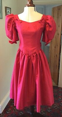 VINTAGE 1980's RED VICTORIAN STYLE BRIDESMAID DRESS