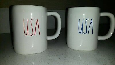 New set of 2 Rae Dunn By Magenta USA Fourth of July Cup Mug RARE brand new 2018
