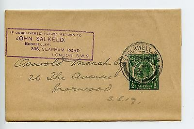 GB stationery newspaper wrapper WP29 complete used 1925 stamp dealer (N149)