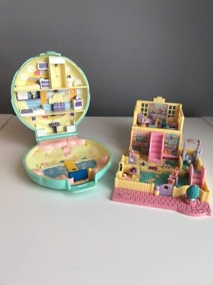 Vintage Bluebird Polly Pocket 1989 & 1994 Beach Party Playground Nursery Bundle