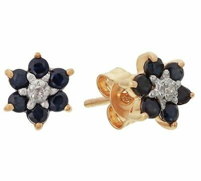 9ct Gold Sapphire and Diamond Accent Revere Flower Stud Earrings New